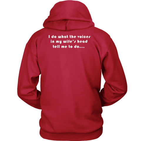 Image of Voices in Her Head | White Print T-shirt Unisex Hoodie Red S