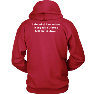 Voices in Her Head | White Print T-shirt Unisex Hoodie Red S