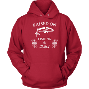 Fishing and Jesus, White T-shirt Unisex Hoodie Red S