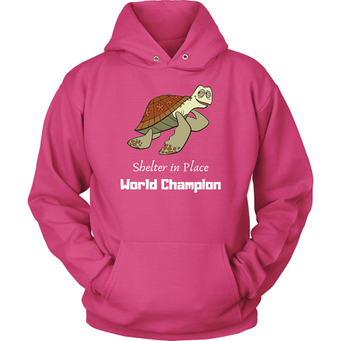 Shelter In Place World Champion, White Print Long Sleeve Hoodie T-shirt Unisex Hoodie Sangria S