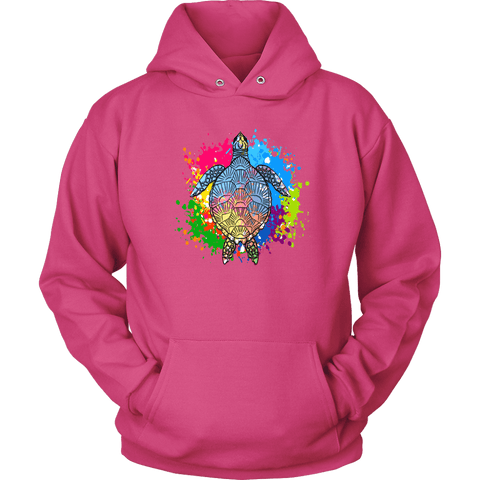 Image of Vibrant Color Splash Sea Turtle T-shirt Unisex Hoodie Sangria S