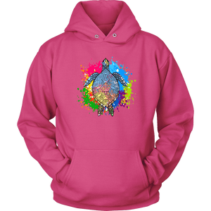 Vibrant Color Splash Sea Turtle T-shirt Unisex Hoodie Sangria S