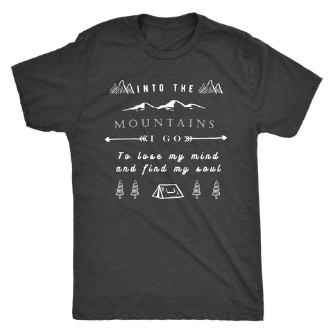 Image of Into the Mountains I Go T-shirt Next Level Mens Triblend Vintage Black S