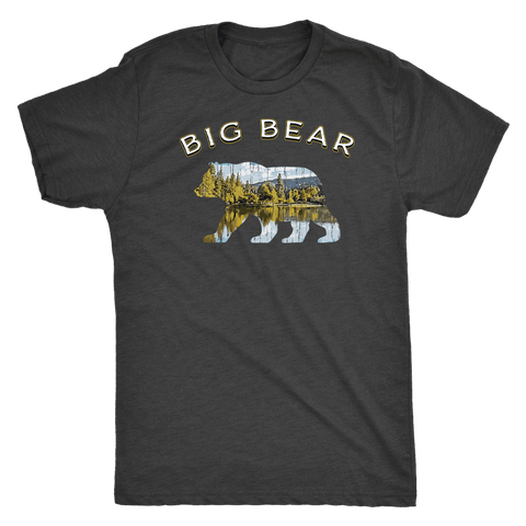 Image of Big Bear V.1 Men's Shirts T-shirt Next Level Mens Triblend Vintage Black S