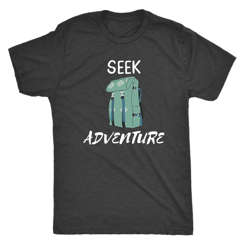 Image of Seek Adventure with Backpack (Mens) T-shirt Next Level Mens Triblend Vintage Black S