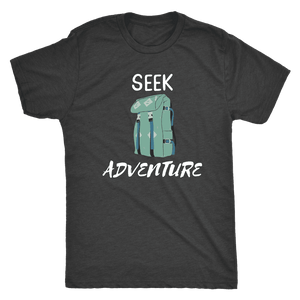 Seek Adventure with Backpack (Mens) T-shirt Next Level Mens Triblend Vintage Black S