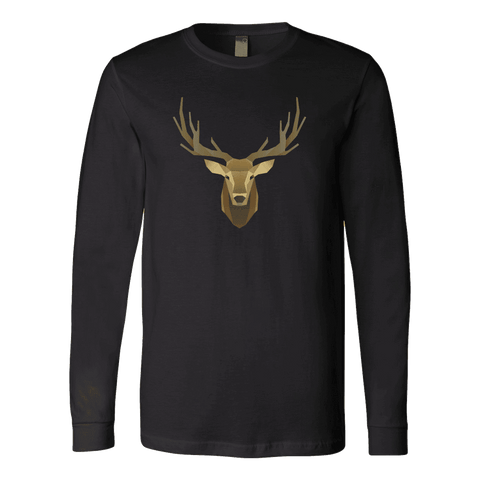 Image of Deer Portrait, Real T-shirt Canvas Long Sleeve Shirt Black S