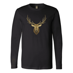 Deer Portrait, Real T-shirt Canvas Long Sleeve Shirt Black S