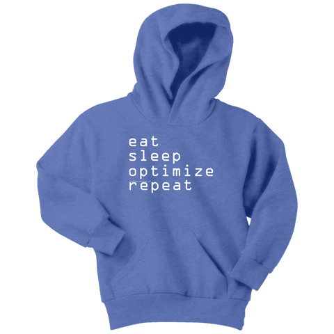 Image of eat, sleep, optimize repeat Hoodie V.1 T-shirt Youth Hoodie Carolina Blue XS
