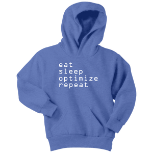 eat, sleep, optimize repeat Hoodie V.1 T-shirt Youth Hoodie Carolina Blue XS