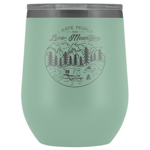 Image of Love The Mountains | Wine Tumbler Wine Tumbler Teal