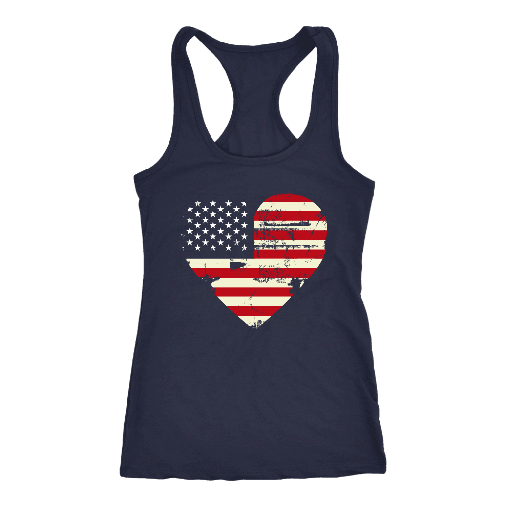 Love America Racerback Tank, Blue T-shirt Next Level Racerback Tank Navy XS