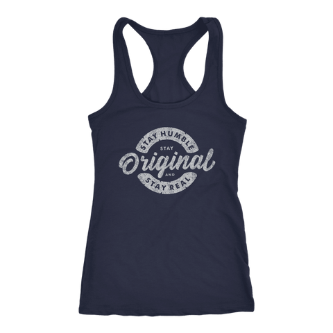 Stay Real, Stay Original Womens T-shirt Next Level Racerback Tank Navy XS