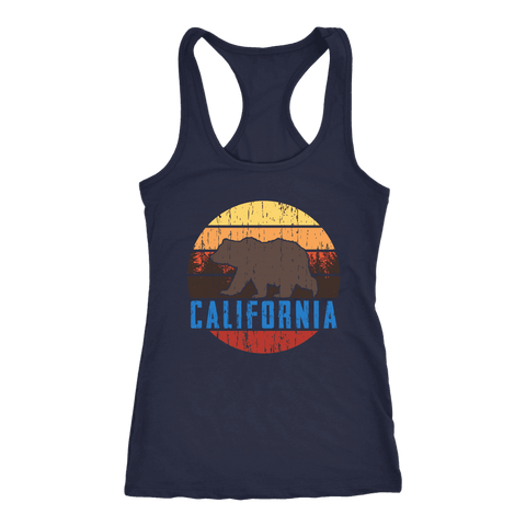 Image of Big Bear California Shirt V.1, Womens Shirts T-shirt Next Level Racerback Tank Navy XS