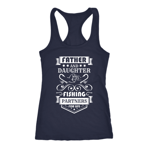 Image of Father and Daughter Fishing Partners T-shirt Next Level Racerback Tank Navy XS