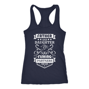 Father and Daughter Fishing Partners T-shirt Next Level Racerback Tank Navy XS