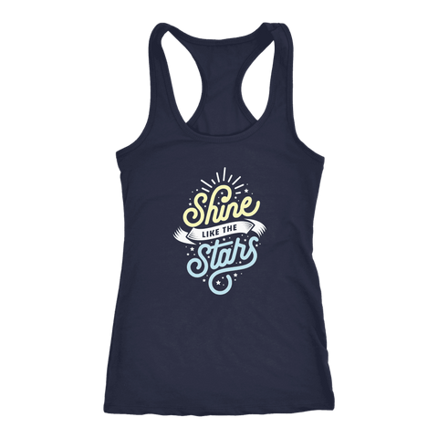 Shine Like The Stars T-shirt Next Level Racerback Tank Navy XS