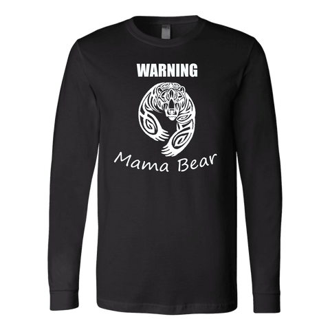 WARNING Mama Bear Celtic T-shirt Canvas Long Sleeve Shirt Black S