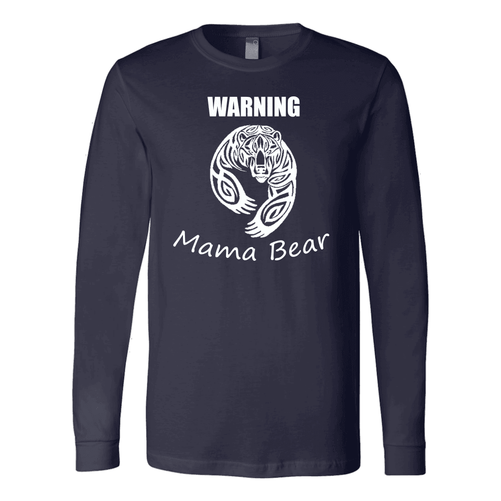 WARNING Mama Bear Celtic T-shirt Canvas Long Sleeve Shirt Navy S