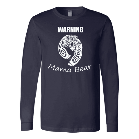 Image of WARNING Mama Bear Celtic T-shirt Canvas Long Sleeve Shirt Navy S