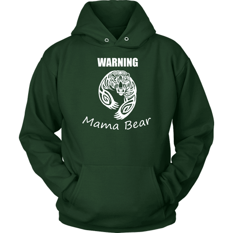 Image of WARNING Mama Bear Celtic Hoodie T-shirt Unisex Hoodie Dark Green S