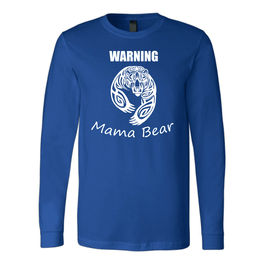 WARNING Mama Bear Celtic T-shirt Canvas Long Sleeve Shirt Royal S