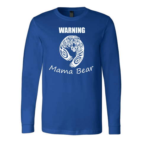 Image of WARNING Mama Bear Celtic T-shirt Canvas Long Sleeve Shirt Royal S