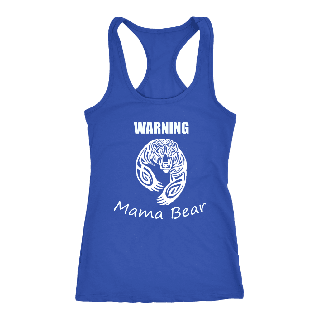 WARNING Mama Bear Celtic T-shirt Next Level Racerback Tank Royal XS