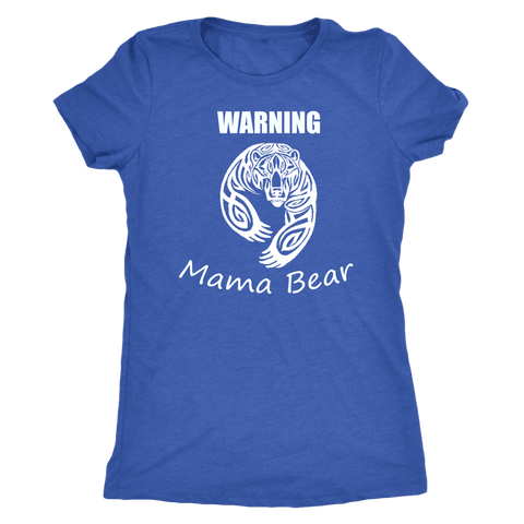 WARNING Mama Bear Celtic T-shirt Next Level Womens Triblend Vintage Royal S