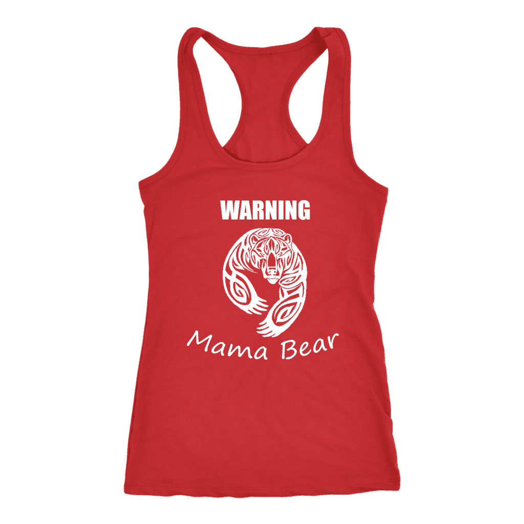 WARNING Mama Bear Celtic T-shirt Next Level Racerback Tank Red XS