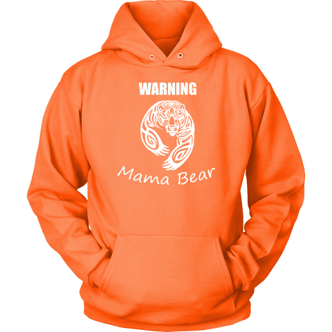Image of WARNING Mama Bear Celtic Hoodie T-shirt Unisex Hoodie Neon Orange S