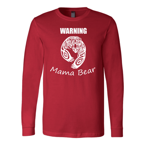 WARNING Mama Bear Celtic T-shirt Canvas Long Sleeve Shirt Red S