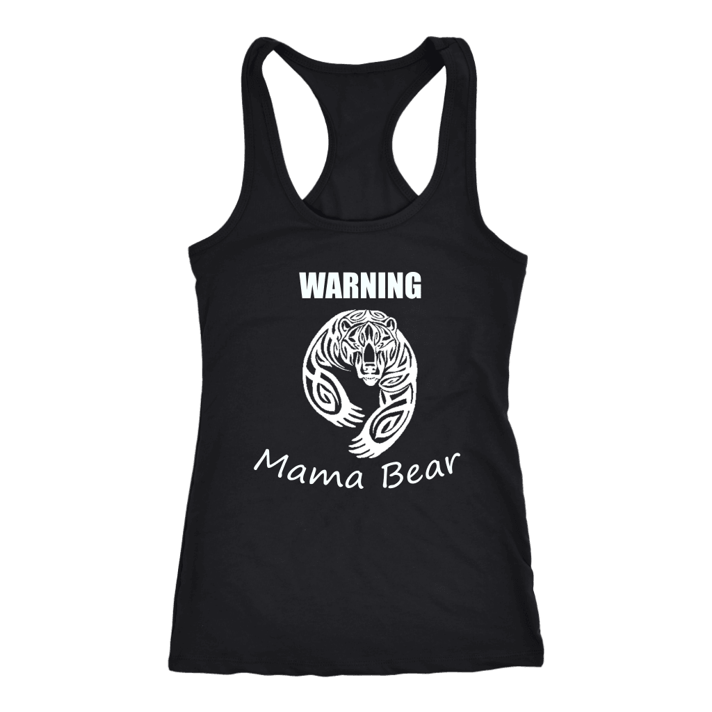 WARNING Mama Bear Celtic T-shirt Next Level Racerback Tank Black XS