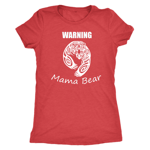 WARNING Mama Bear Celtic T-shirt Next Level Womens Triblend Vintage Red S