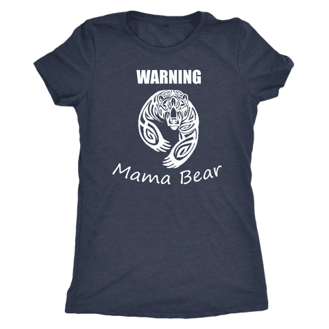 WARNING Mama Bear Celtic T-shirt Next Level Womens Triblend Vintage Navy S