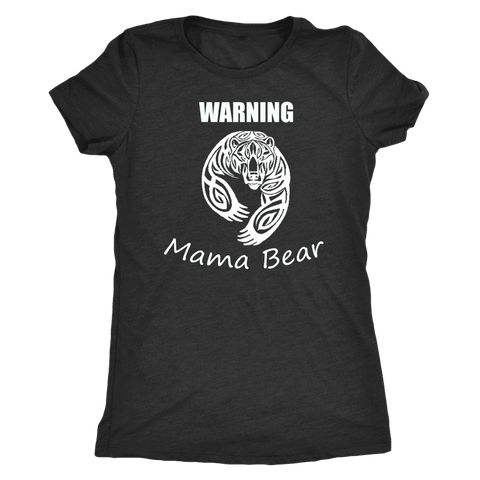 WARNING Mama Bear Celtic T-shirt Next Level Womens Triblend Vintage Black S