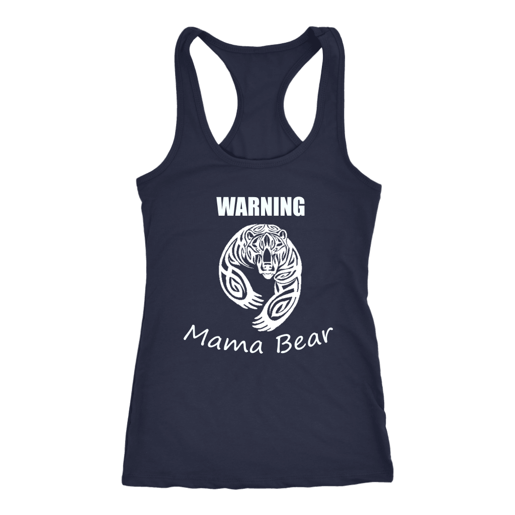 WARNING Mama Bear Celtic T-shirt Next Level Racerback Tank Navy XS