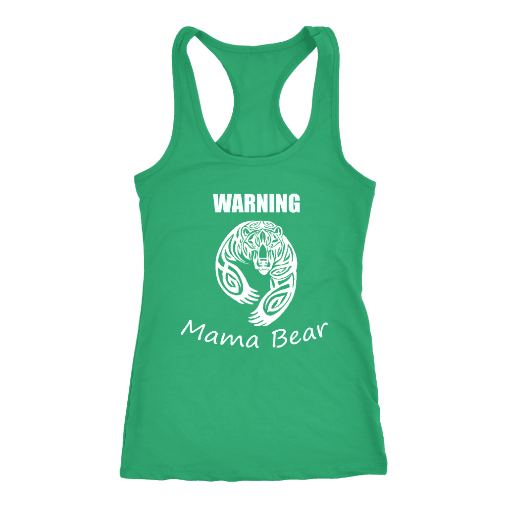 WARNING Mama Bear Celtic T-shirt Next Level Racerback Tank Kelly XS