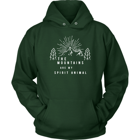 Image of Mountains Spirit T Shirt 1 T-shirt Unisex Hoodie Dark Green S