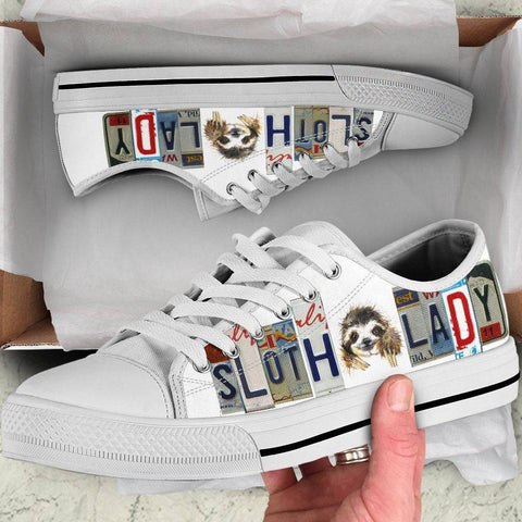 Image of Sloth Lady Low Top Canvas Shoes Shoes