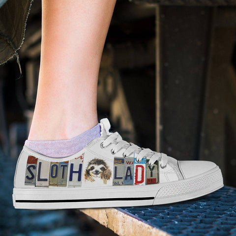 Image of Sloth Lady Low Top Canvas Shoes