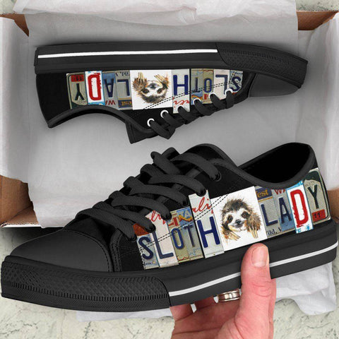 Image of Sloth Lady License Plate Art Shoes | Black Low Top