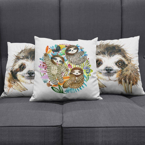 Image of Watercolor Sloth Pillow Cover