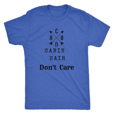 Image of CABN, Cabin Hair, Don't Care T-shirt Next Level Mens Triblend Vintage Royal S