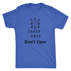 CABN, Cabin Hair, Don't Care T-shirt Next Level Mens Triblend Vintage Royal S