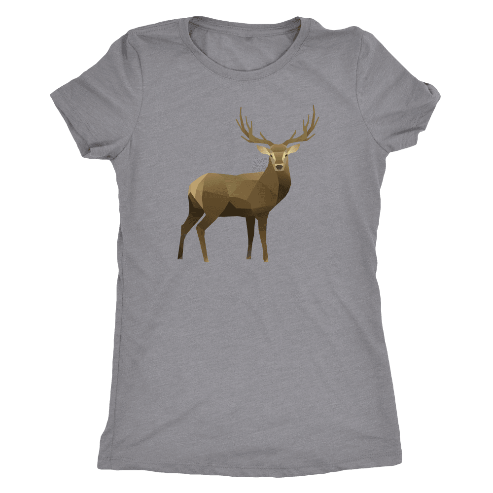 Real Polygonal Deer T-shirt Next Level Womens Triblend Heather Grey S