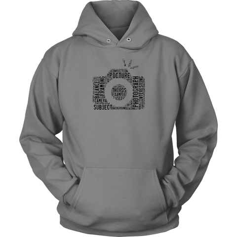 Awesome Word Camera Shirt T-shirt Unisex Hoodie Grey S
