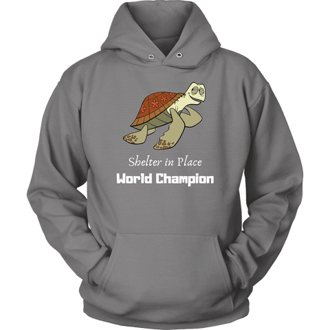 Shelter In Place World Champion, White Print Long Sleeve Hoodie T-shirt Unisex Hoodie Grey S