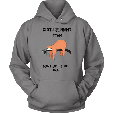 Image of Sloth Running Team T-shirt Unisex Hoodie Grey S
