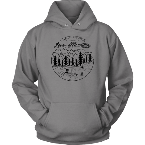 Image of Love The Mountains Mens T-shirt Unisex Hoodie Grey S